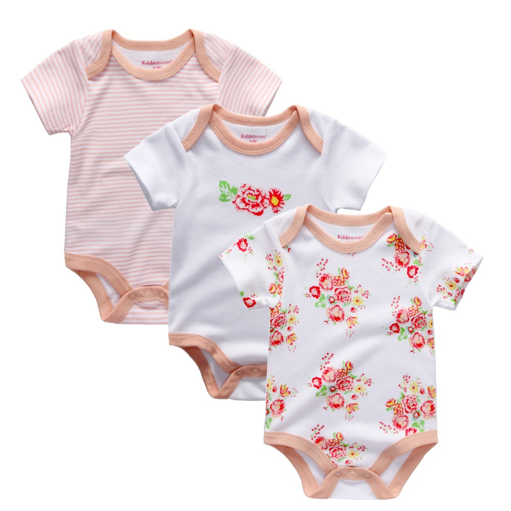 2017 New baby girls jumpsuits & baby bodysuits 3pcs/lot cotton newborn wholesale short sleeve baby boys clothing set
