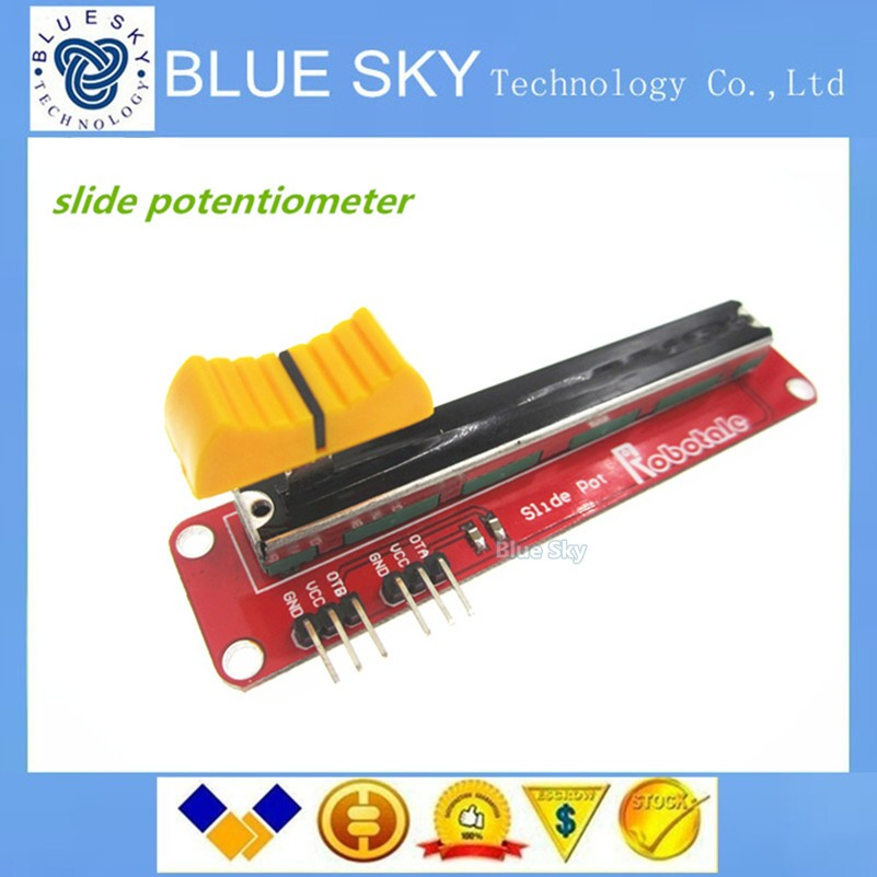 Free shipping 5pcs 5PCS/LOT Block 10K Sliding Slider Potentiometer Module For Arduino For MCU For ARM For Other Single Chip Micr