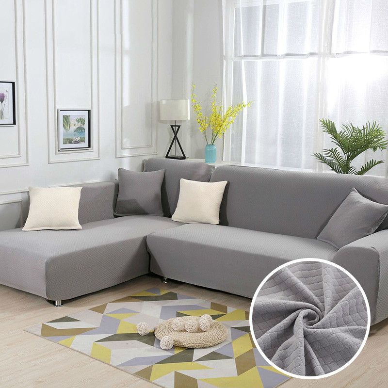 Gray L Shape Sofa Thick Diamond Pattern Stretch Corner