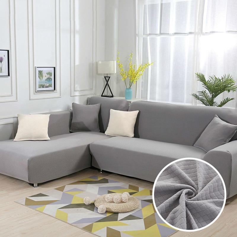 gray l shape sofa thick diamond pattern