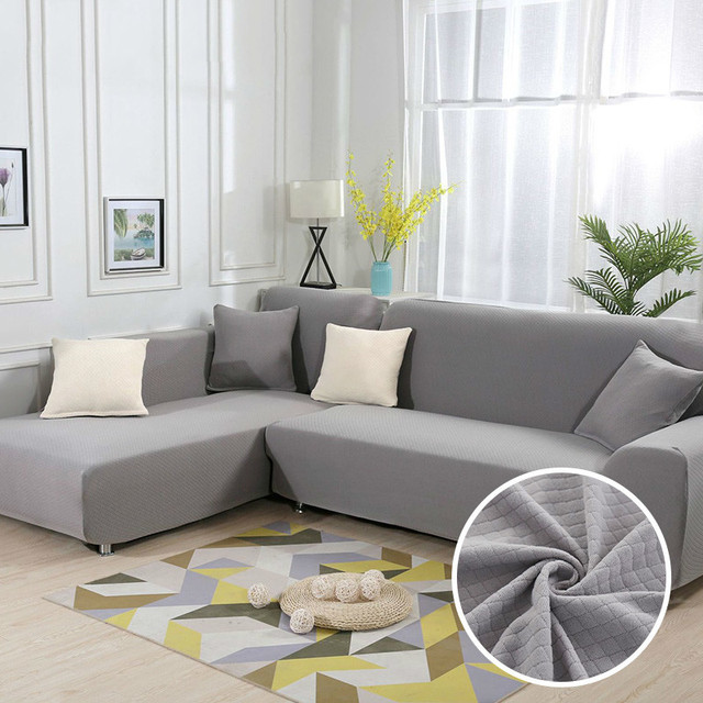US $52.99 30% OFF|Gray L Shape Sofa Thick Diamond Pattern Stretch Corner  Sofa Cover Living Room Chaise Lounge Couch Cover Sectional 8 Colors-in Sofa  ...