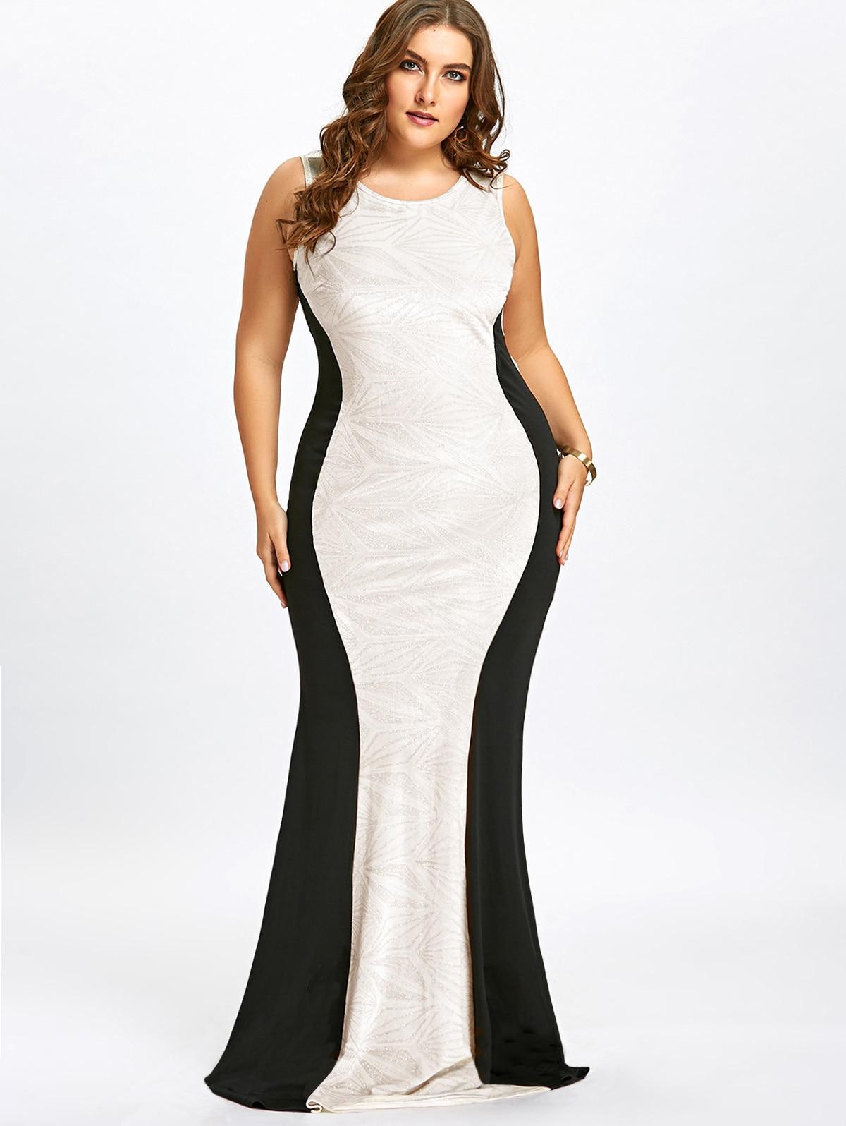 Women Sleeveless Dress Sequins Collar Maxi Evening Party Dress Plus Size XL-5XL