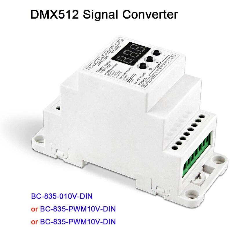 5CH led Din Rail DMX512/1990 signal to 0-10V or PWM 10V 5V converter DMX512 controller,DC12V-24V,BC-835-010V-DIN