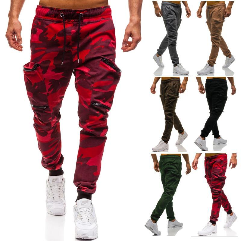 HTB1CyYlLVzqK1RjSZFvq6AB7VXaM Mens Joggers 2019 New Red Camouflage Multi-Pockets Cargo Pants Men Cotton Harem Pants Hip Hop Trousers Streetwear XXXL