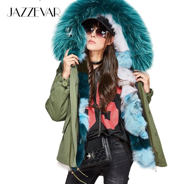 278e07f25 US $244.79 49% OFF|JAZZEVAR New Fashion Women's Luxurious Real Fox fur  lining MINI Parkas Large Raccoon fur Hooded Coat Outwear Winter Jacket-in  Real ...