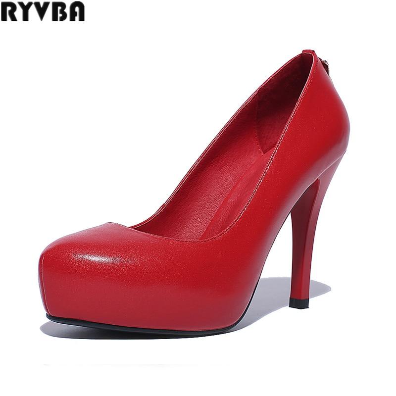 RYVBA woman cow genuine leather thin high heels pumps womens fashion platform shoes women autumn spring women's elegant pumps