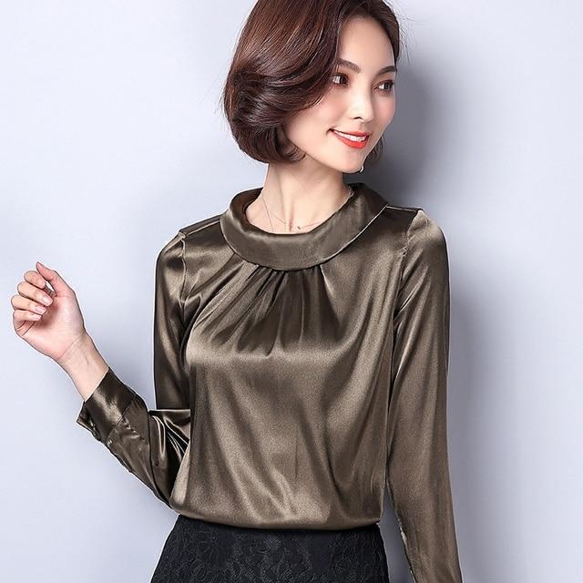 Casual Silk Blouse Loose Long Sleeve OL Work Wear Blusas Feminina Tops Shirts Plus Size XXXL 2