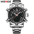 WEIDE Analog Stainless Steel Wrist Watches Men Quartz Digital Dual Movement Date Alarm Stopwatch Big Dial Display Luxury Items