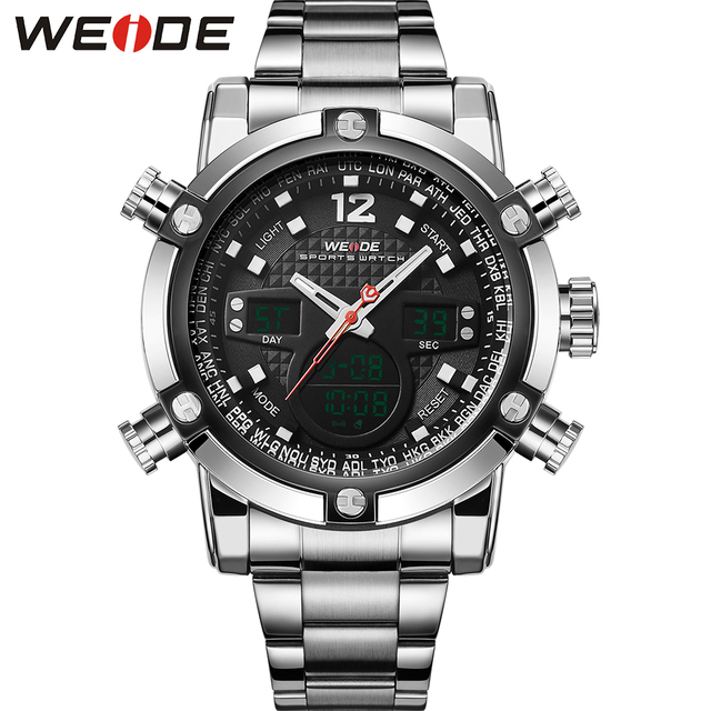 WEIDE Analog Stainless Steel Wrist Watches Men Quartz Digital Dual Movement Date Alarm Stopwatch Big Dial Display Luxury Items