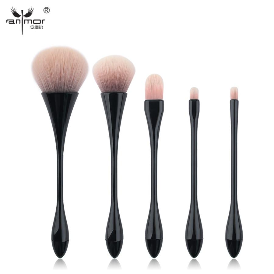 Anmor hoge kwaliteit make-up kwasten set 5 stuks synthetische dunne taille make-up borstels kit zwart HT01