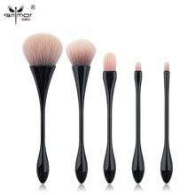 Anmor High Quality Makeup Brushes Set 5 pcs Synthetic Thin Waist Make Up Brushes Kit Black HT01