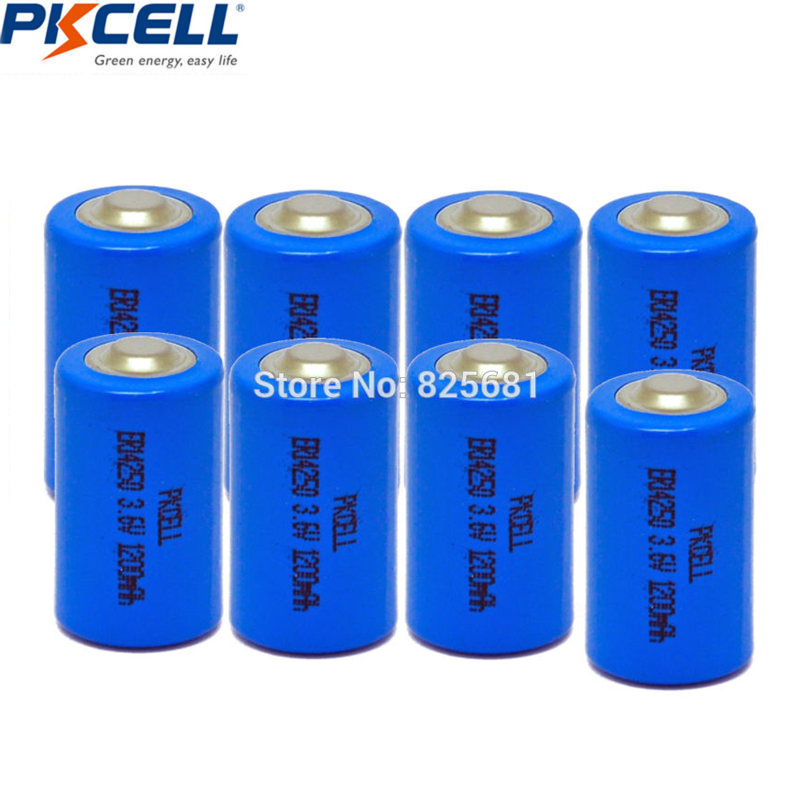 8Pcs PKCELL ER14250 In 3.6v 1200mah Lithium <font><b>1/2AA</b></font> Li-SOCl2 <font><b>Battery</b></font> For GPS LED Lighting Devices Sonobuoys Replace Saft LS14250 image