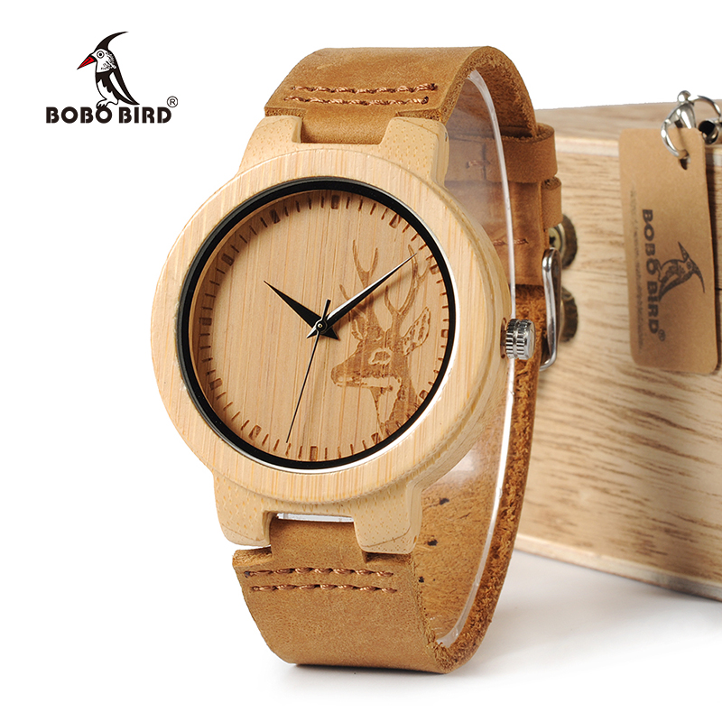 BOBO BIRD WD14 Bamboo Watch Engraving Elk Deer Head Dial Face And Leather Strap Japan Movement Quartz Watches for Men Gift Box bobo bird round vintage deer head bamboo wood quartz analog wrist watch for top luxury men watch with leather strap in gift box