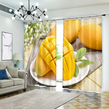 Creative Photo of Mango Decorative 3D Curtain for Home Textile Luxury Living Room 3D Sunshade Curtain Customize Size