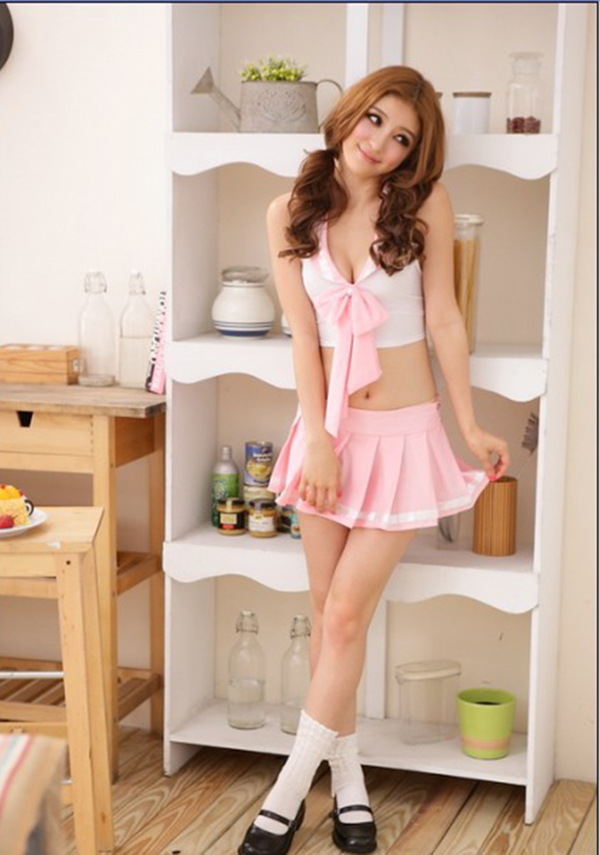 Sexy Pink Japan Costumes School Student Costume Girl Lace -8704