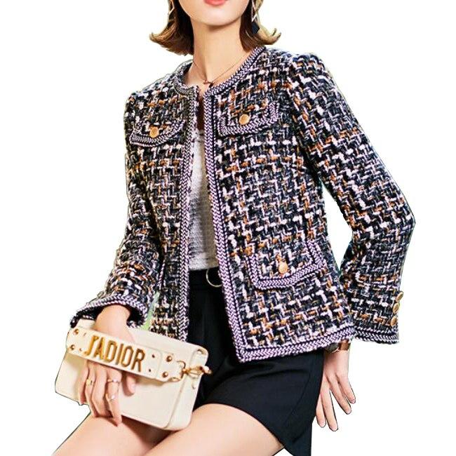 2018Tweed jacket coat spring/autumn women's woolen cashmere coat long sleeve slim tassel pearl button elegant runway jacket