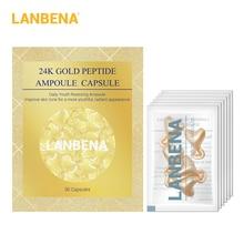 LANBENA 24K Gold Peptide Rimpels Gezicht Ampul Capsule Gezichtscrème Dag Huid Whitening Serum Anti-Ageing Tillen Verstevigend 30Grain
