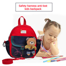 Kawaii Kids School Bags with a Cute Plush Rabbit Anti-lost Backpack Plush Toy Canvas Kindergarten Schoolbags with Safety Harness(China)