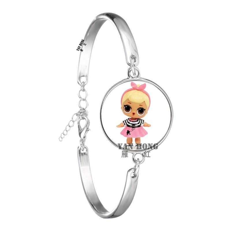 Красивый кукольный стеклянный браслет 20 мм стеклянный купол мультфильм ювелирные изделия круглый стеклянный браслет детский очаровательный подарок - Окраска металла: 17