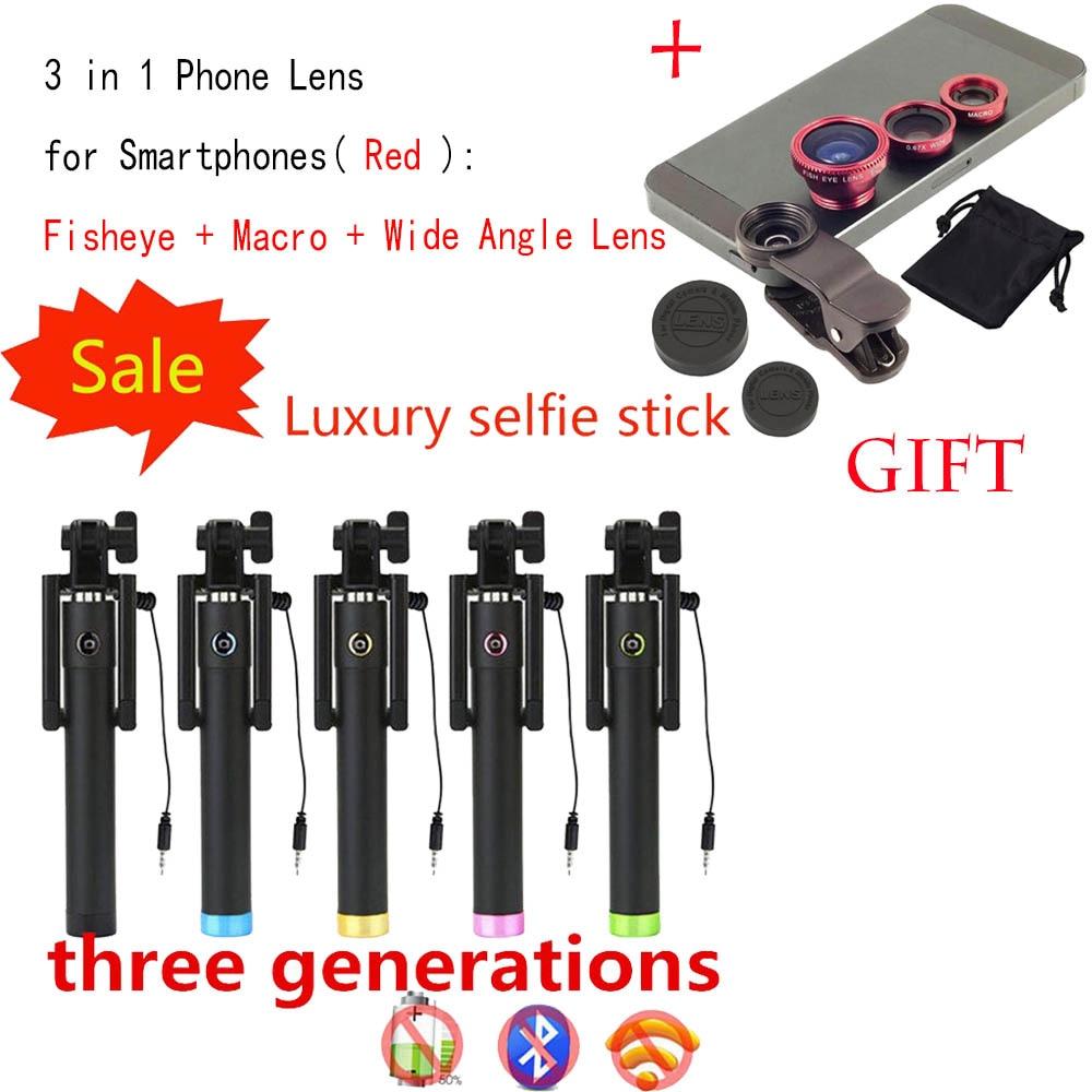 SKF35 Wired Selfie Stick Tripod Built-in Shutter Monopod + Fisheye Macro Wide Angle Phone Lens for Samsung Galaxy S7 / S7 Edge