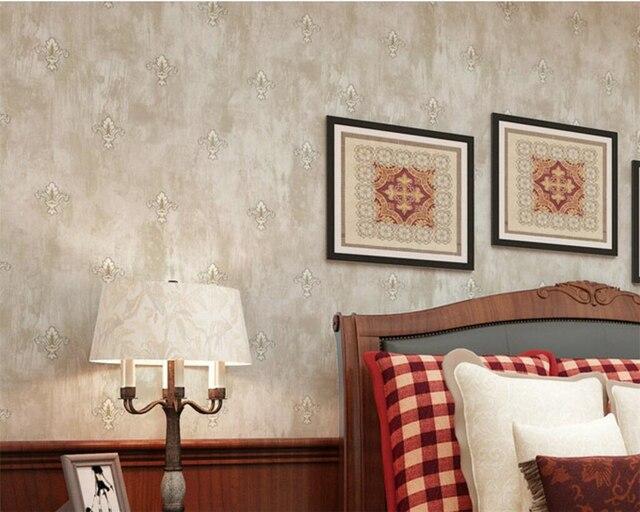 Beibehang American Retro Pastoral Floral 3D Wallpaper Bedroom Living Room Beige Light Green For