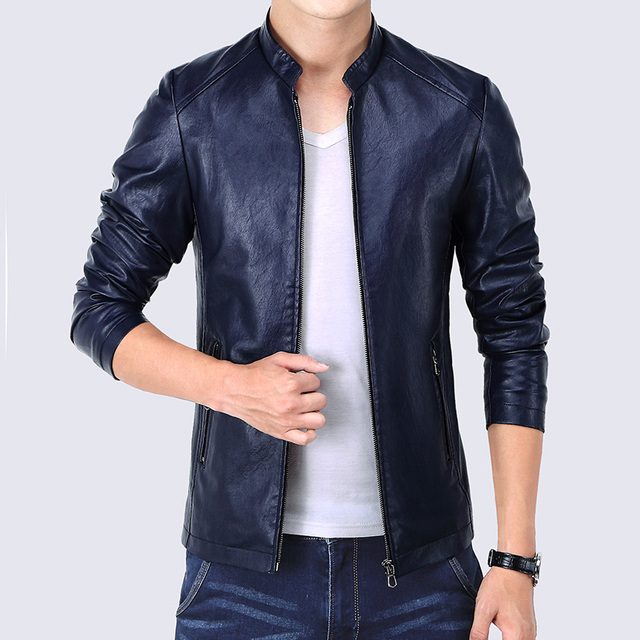 PU Leather Men's Bomber Jacket 3 Colors