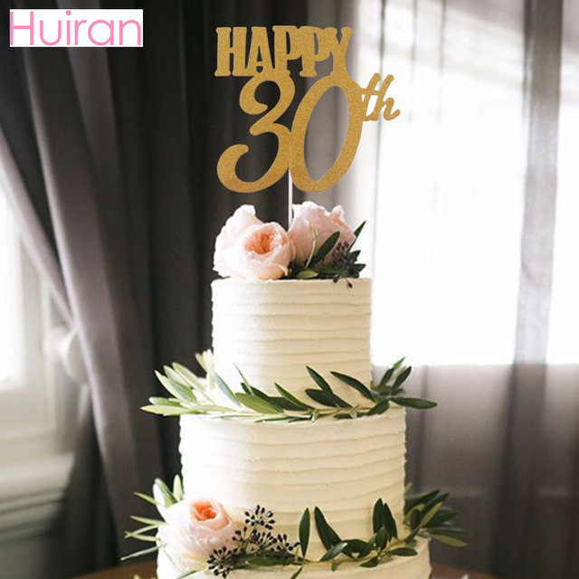 HUIRAN Gold Happy Birthday Cake Topper Party Decor 30th 40th 50th 60th Supplies Wedding