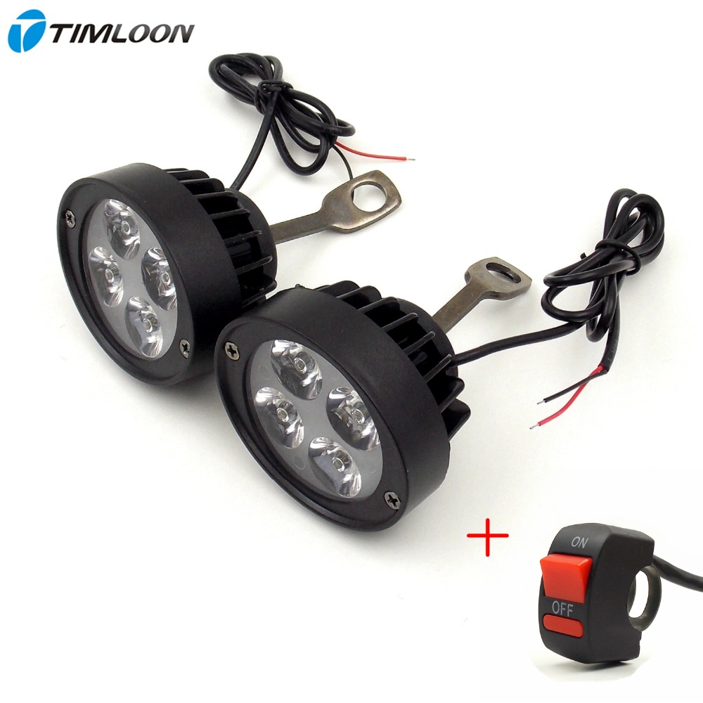 Newest 2pcs 12V-85V Super Light Waterproof Motorcycle LED Headlight Locomotive Spotlight Assist Lamp Rearview Mirror Light