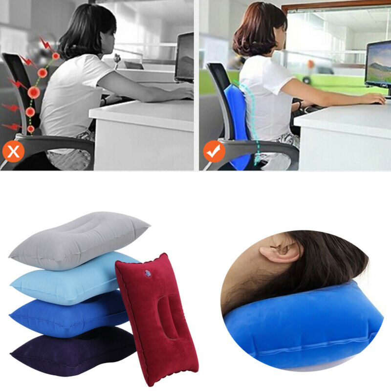 Inflatable Air Travel Pillow Airplane Neck Head Chin Cushion Office Nap Rest Pillow Sleeping Lightweight for Airplane Car Train image