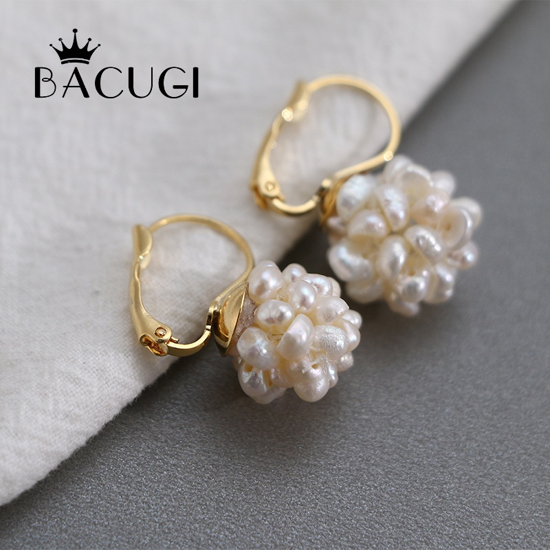 Drop-Earrings Charms Flowers Wedding-Gift Natural Pearl Freshwater Elegant Luxury New title=