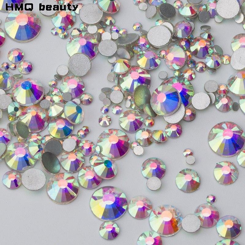 Shiny Crystal AB Mixed size 3D SS3 SS5 SS16 SS20 Nail s