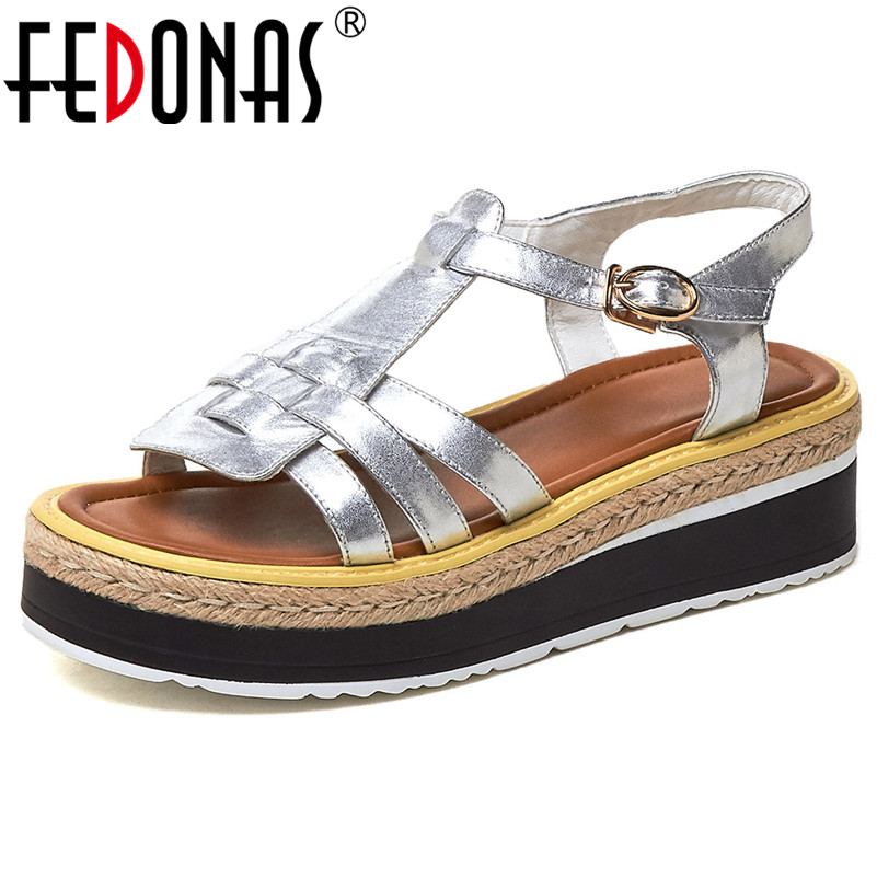 FEDONAS 2019 Summer Fashion Concise Rome Round Toe Women Flats Solid Genuine Leather Buckle Women Sandals Party Office ShoesFEDONAS 2019 Summer Fashion Concise Rome Round Toe Women Flats Solid Genuine Leather Buckle Women Sandals Party Office Shoes