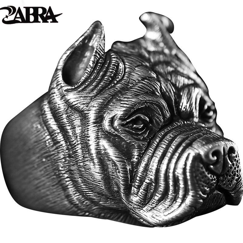 ZABRA réel pur 925 argent Sterling Shar Pei chien anneaux hommes personnalité gothique Bague Vintage Punk Rock fait à la main bijoux fins