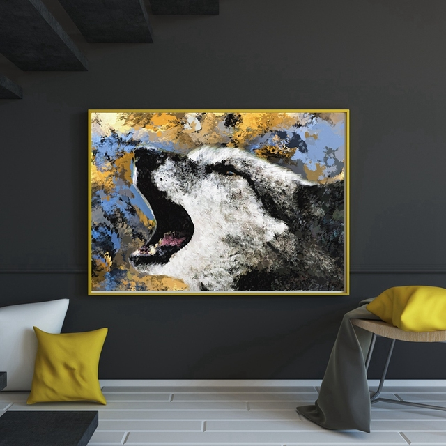 Cool canvas printings wolf animals jet painting fashion gifts for office wall art decor hd print