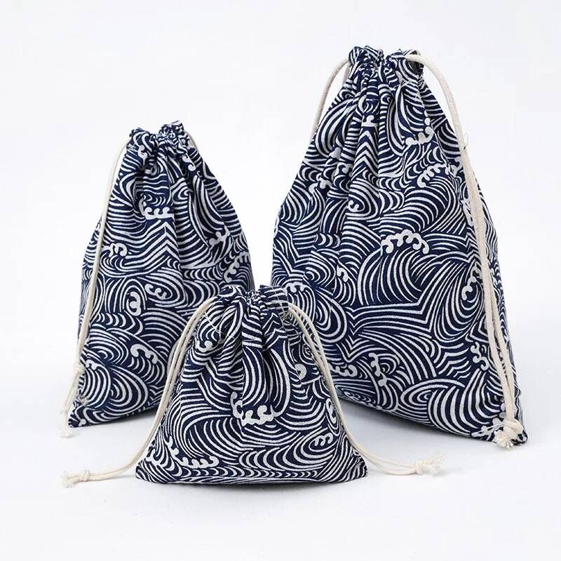 YILE Sea Water Spray Cotton Linen Drawstring Coin Key Phone Pouch Cosmetic Bag 8614a