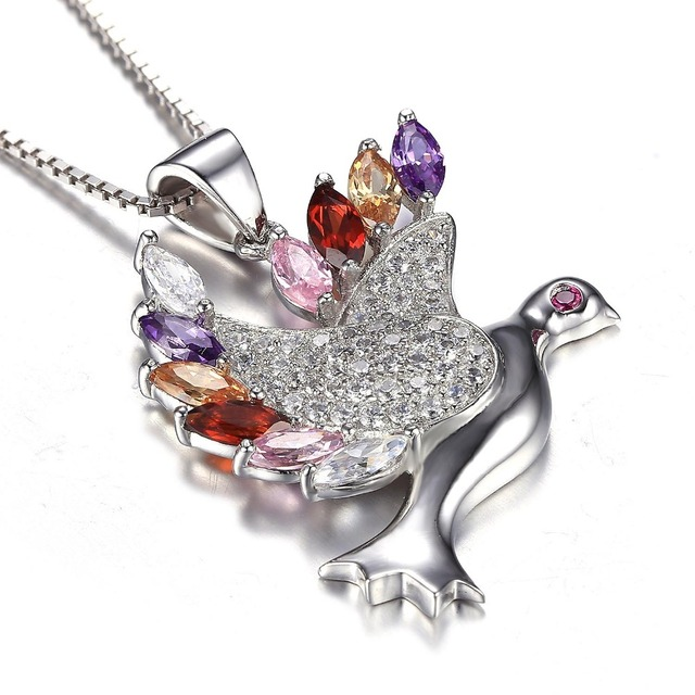 JewelryPalace Bird Multicolor Cubic Zirconia Pure 925 Sterling Silver Fine Jewelry For Women Pendant Gift Not Include a Chain