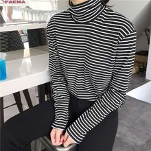 Black White Striped Loose Casual Tees Turtleneck Female T-sh