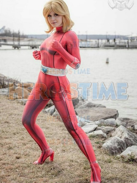 Clover Totally Spies Cosplay Costume DyeSub Printing Red Clover Lycra Bodysuit Zentai Halloween Party Suit