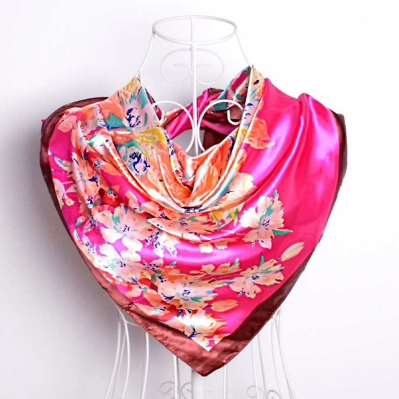 Дизайн женский Шелковый большой квадратный шелковый шарф из полиэстера, 90*90 см горячая Распродажа атласный шарф с принтом для весны, лета, осени, зимы - Цвет: dark pink