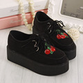 Classic Harajuku Cherry Embroidered Creepers Flats Platform Shoes Women's Casual Shoes Punk Rock Harajuku Platform Shoes Woman
