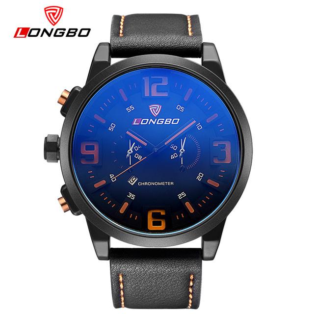 Hombres reloj longbo marca diseñador deporte esfera de un reloj con fecha resistente a los arañazos a prueba de golpes a prueba de agua reloj de cuarzo montres 80192