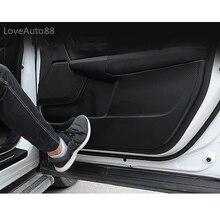 Car Carbon Fiber Leather Door Protector Pad Anti Kick Anti-dirty Mat Cover Sticker For Honda CRV CR-V 2017 2018