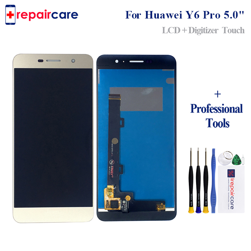 Original Black/White/Gold For <font><b>Huawei</b></font> <font><b>Y6</b></font> <font><b>Pro</b></font> <font><b>TIT</b></font>-U02 <font><b>Y6</b></font> <font><b>Pro</b></font> <font><b>TIT</b></font>-<font><b>AL00</b></font> / G Power <font><b>LCD</b></font> Display+Touch Screen Digitizer Assembly+Frame image