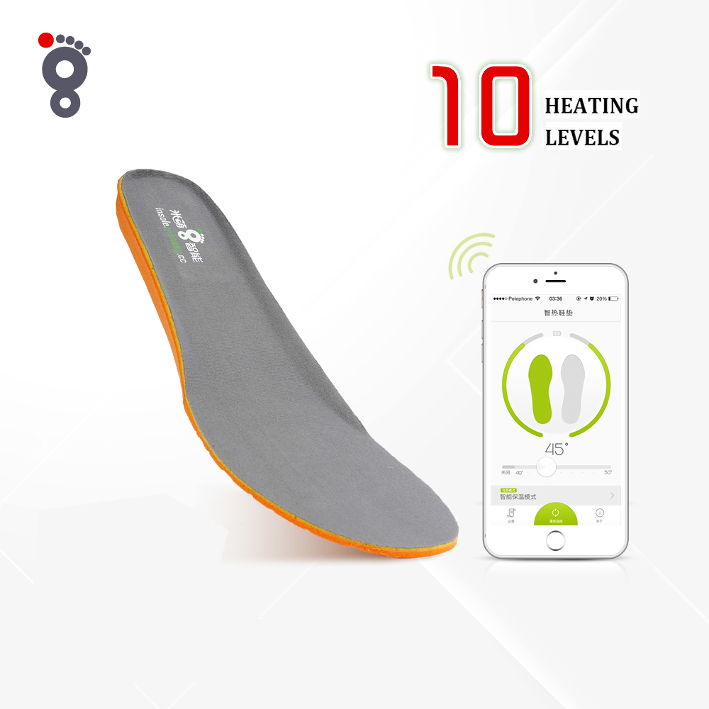ФОТО Mobile APP Wireless Bluetooth Smart Control Electric Heating Insoles Winter Foot Warming Thermal Soles plantillas calefactables