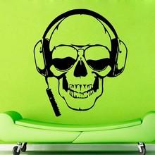 Creative Skull Music Vinyl Wall Headphones Skull Glasses Cool Decor Rock Pop For Bedroom Mural Wall Sticker Home Decoration