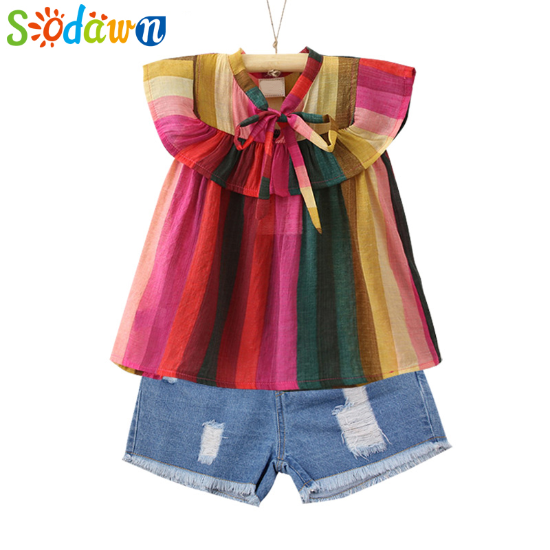 Sodawn High Quality Children Clothes Girls Clothing Set 2018 Summer Color Stripe Bow Tie Top + Denim Shorts 2pcs Girls Clothes