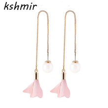 Ms pearl flower lovely earrings earrings Night long earrings eardrop restoring ancient ways Fashion gift eardrop beautiful girls