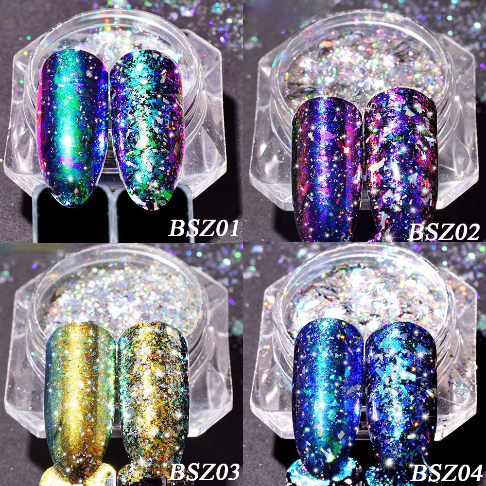 Image 5 - 1 bottle 0.2g Aurora Chameleon Nail Sequins Paillette DIY Thin Dazzling Mirror Effect Manicure Tools Nail Art Glitter TRBSZ02-in Nail Glitter from Beauty & Health