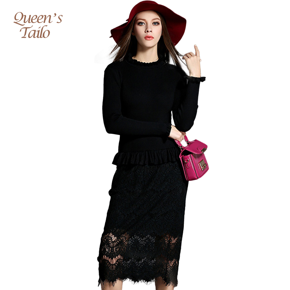 NEW Solid Black Woman Autumn Winter Dress Lace Patched Sweater Calf Length Dress Female Bandage OL Design Vestidos 5029