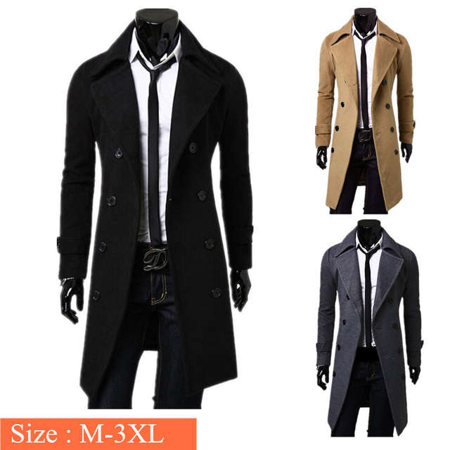 d8b61b62eb8c4 placeholder New Arrival Male Men s Winter Warm Wool Blend Trench Coat  Double Breasted Fashion Long Overcoats Jackets